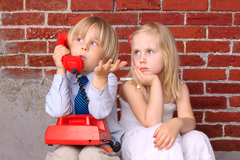 Children Couple Boy on Phone Girl Upset