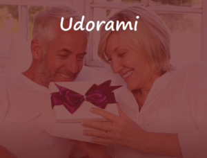 older couple happy gifting
